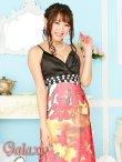 画像5: バックスピンドル胸下ビジュ盛りゼブラ&フラワー柄シフォンロングドレス (5)