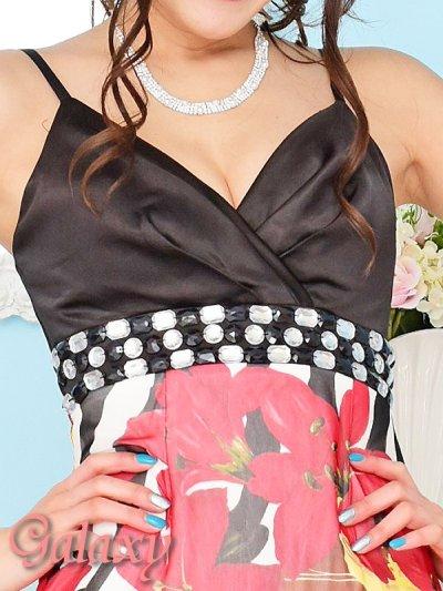 画像1: バックスピンドル胸下ビジュ盛りゼブラ&フラワー柄シフォンロングドレス