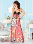 画像4: バックスピンドル胸下ビジュ盛りゼブラ&フラワー柄シフォンロングドレス (4)