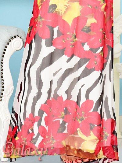 画像3: バックスピンドル胸下ビジュ盛りゼブラ&フラワー柄シフォンロングドレス