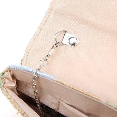 画像1: 上品グレイッシュカラーフラワー刺繍クラッチバッグ
