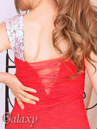 画像2: 肩紐スパンコール装飾ワンショルダーデザインレースロングドレス*3color