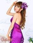 画像2: 豪華カスケード*胸元レースフリル&バックレースデザイン*サテンロングドレス (2)