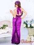 画像4: 豪華カスケード*胸元レースフリル&バックレースデザイン*サテンロングドレス (4)