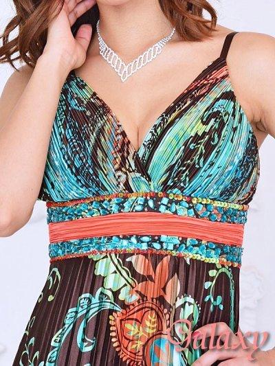 画像2: 胸下ビジュー盛りペイズリー柄プリーツロングドレス
