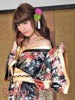画像16: ゴールドパイピング和柄花柄サテン着物ロングドレス*3color (16)