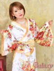 画像6: ゴールドパイピング和柄花柄サテン着物ロングドレス*3color (6)