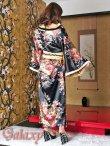 画像15: ゴールドパイピング和柄花柄サテン着物ロングドレス*3color (15)