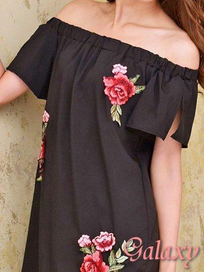 画像1: 薔薇刺繍入り*オフショルチュニックシャツワンピース*3color