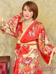 画像11: ゴールドパイピング和柄花柄サテン着物ロングドレス*3color (11)