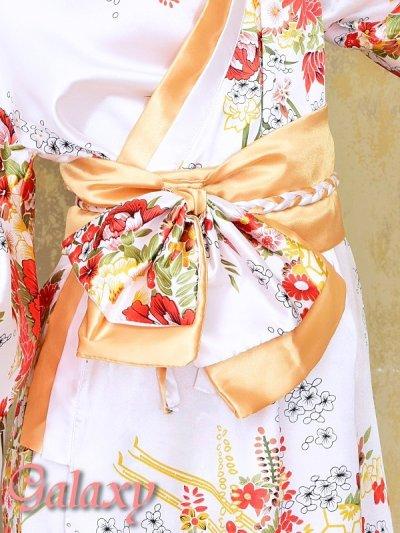 画像2: ゴールドパイピング和柄花柄サテン着物ロングドレス*3color