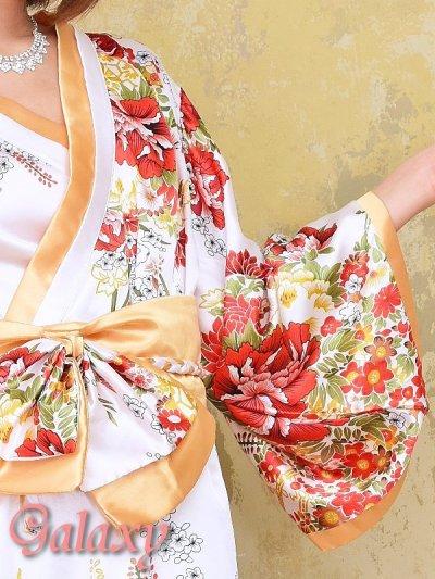 画像1: ゴールドパイピング和柄花柄サテン着物ロングドレス*3color
