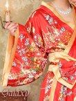 画像12: ゴールドパイピング和柄花柄サテン着物ロングドレス*3color (12)