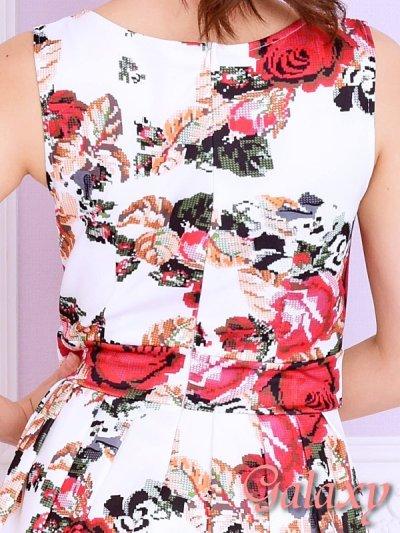 画像2: 薔薇刺繍風フラワー柄プリント*フレアーミニドレス
