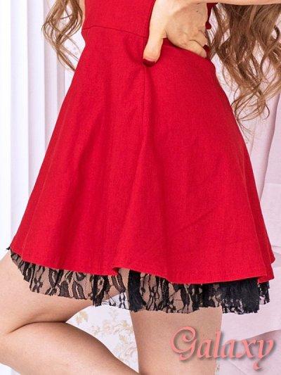 画像3: 胸元合皮切替*裾花柄レースフリルフレアーミニドレス*3color