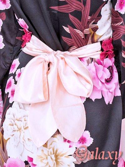 画像2: 和風花柄*斜めアシンメトリーフリル裾*リボン帯*花魁着物ドレス