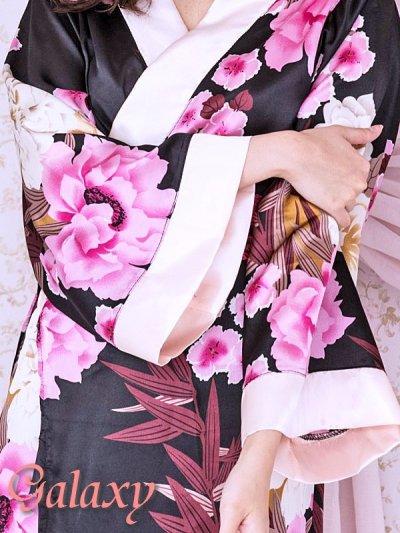 画像1: 和風花柄*斜めアシンメトリーフリル裾*リボン帯*花魁着物ドレス