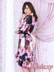 画像3: 和風花柄*斜めアシンメトリーフリル裾*リボン帯*花魁着物ドレス (3)