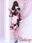 画像4: 和風花柄*斜めアシンメトリーフリル裾*リボン帯*花魁着物ドレス (4)