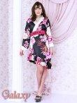 画像2: 和風花柄*斜めアシンメトリーフリル裾*リボン帯*花魁着物ドレス (2)