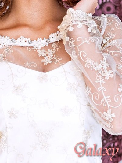 画像3: 豪華パール&ビジュー*金糸刺繍*シースルースリーブミニワンピース*S/M/L/XL