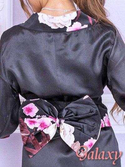 画像2: ブラック無地サテン*和風花柄帯花魁着物ドレス