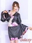 画像5: ブラック無地サテン*和風花柄帯花魁着物ドレス (5)