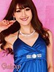 画像8: クリスタルストーンバックル付*艶ストレッチサテンカシュクールミニドレス*8color (8)