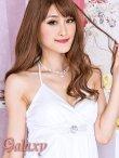 画像12: クリスタルストーンバックル付*艶ストレッチサテンカシュクールミニドレス*8color (12)