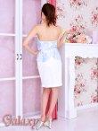 画像5: Richビジュー装飾ホールカット*シースルー花柄チュールレースバイカラーペプラム*ベアミニドレス*2color*M/L (5)