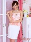 画像7: Richビジュー装飾ホールカット*シースルー花柄チュールレースバイカラーペプラム*ベアミニドレス*2color*M/L (7)