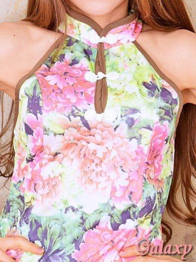 画像1: 花柄スリムライン*エスニック風チャイナワンピース*S/M/L