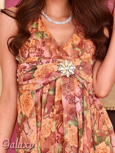 画像1: フラワーブローチ付*ロマンティックフラワー*シフォンミニドレス*2color*M/Lサイズ
