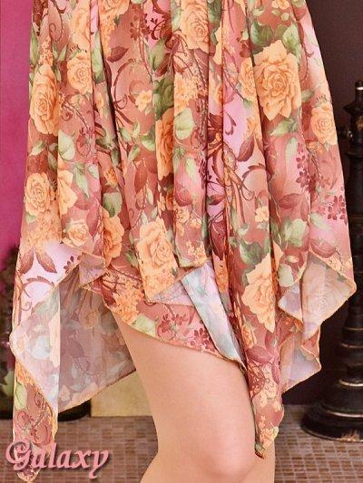 画像3: フラワーブローチ付*ロマンティックフラワー*シフォンミニドレス*2color*M/Lサイズ