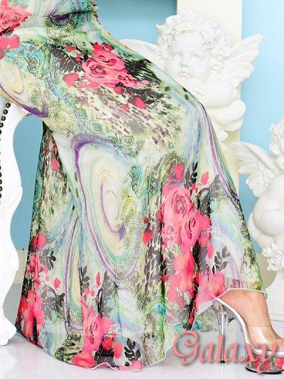 画像3: 胸元クロスデザイン*鮮やかペイズリー柄シフォンロングドレス