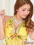 画像12: Wスクエアーカラーストーンライン*胸元クロス薔薇柄シフォンロングドレス*2color  (12)