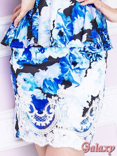 画像3: Richビジュー&ラグジュアリーレース装飾*ぼかしフラワー柄*ペプラムミニドレス*2color