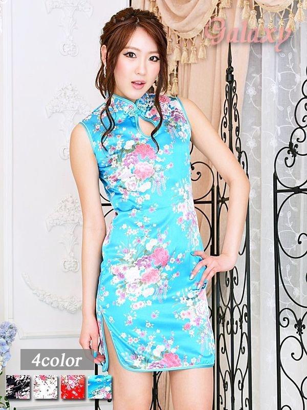 画像1: チャイナボタン付*小花柄サテンチャイナミニドレス*4color (1)