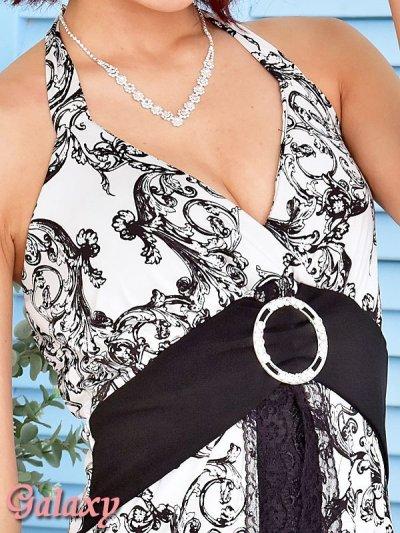 画像1: モノクロシャンデリア柄*ケミカルレーススカートインナーミニロングキャバドレス*2color