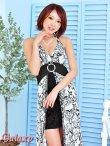 画像8: モノクロシャンデリア柄*ケミカルレーススカートインナーミニロングキャバドレス*2color (8)