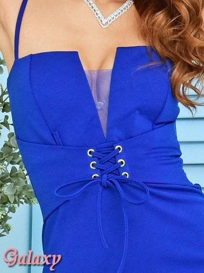 画像1: メッシュ重ねSEXY胸元カット*編み上げ*ストレッチタイトミニドレス