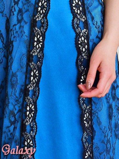 画像3: 薔薇コサージュ付*銀糸入りBlackフラワーレース重ね*ストレッチサテンロングドレス