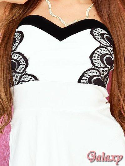 画像2: 胸元ハートカットベアトップ*レースドッキングミニドレス*2color