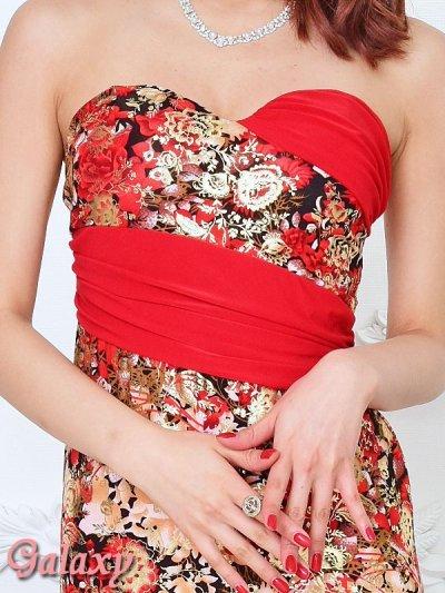 画像1: 金箔ラメフラワー*和風花柄ストレッチベアロングドレス