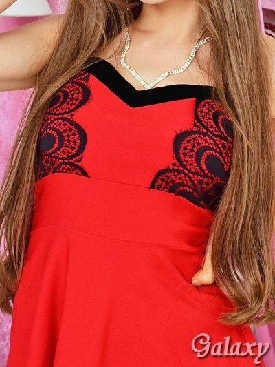 画像1: 胸元ハートカットベアトップ*レースドッキングミニドレス*2color