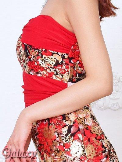 画像2: 金箔ラメフラワー*和風花柄ストレッチベアロングドレス