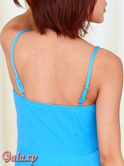 画像2: 胸元シャーリング*ランダムカットストレッチピーターパンドレス*13color