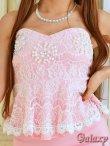画像10: 胸元パールビーズ&ビジュ装飾*レース切替ぺプラムミニドレス*4color (10)