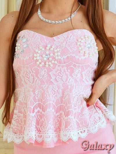 画像1: 胸元パールビーズ&ビジュ装飾*レース切替ぺプラムミニドレス*4color