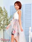 画像4: 豪華クリスタルビジュー&パール装飾*フラワーレース重ねふわふわ2段ティアードオーガンジー*花柄インナーミニロングドレス*1color*M/L (4)